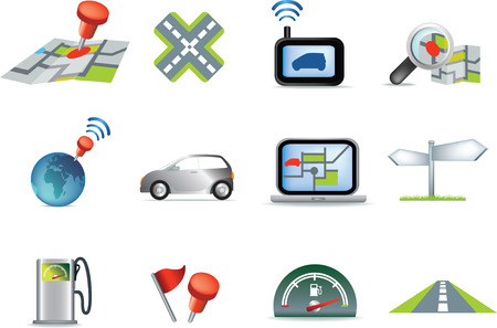 navigation road travel collection of icons illustration set Vector