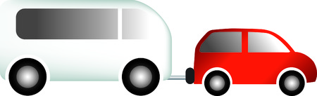 car towing a touring caravan as an illustration Illustration