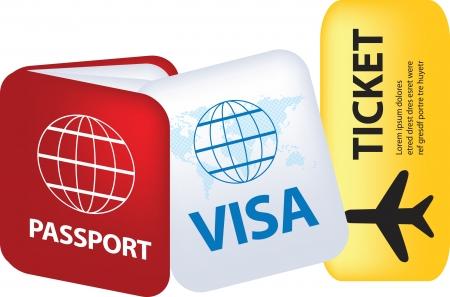 pasaporte: documentos de pasaporte y de viaje como una ilustraci�n  Vectores