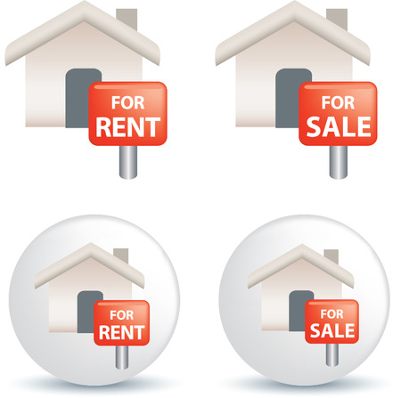 for rental: For sale and rent symbol as icon illustration