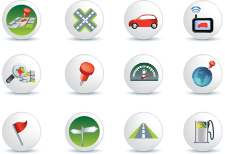 satellite navigation: colecci�n de viajes de carretera de navegaci�n de conjunto de iconos de ilustraci�n  Vectores