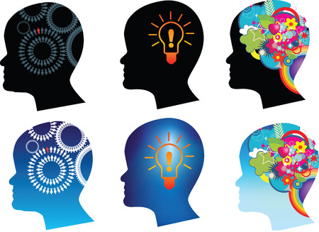 Abstract thought and thinking and brain power illustrations Vector