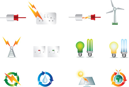 electrical power detailed icon set  collection of symbols Vector