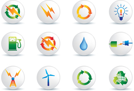 turbines: electrical power detailed icon set  collection of buttons