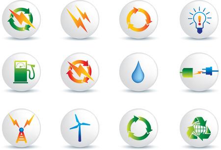 icono detallada de energía eléctrica establece la colección de botones