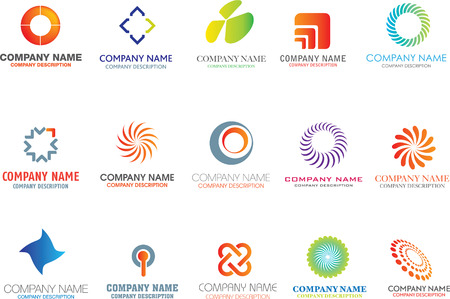 logos negocios: conjunto de s�mbolos de logotipos corporativos y marcas Vectores