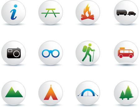people hiking: camping and outdoor detailed colour illustration button set Illustration