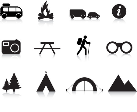 people hiking: camping and outdoor simple silhouette illustration set Illustration