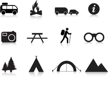 obóz: Wyżywienia i odkryty zestaw Ilustracja prostych sylweta