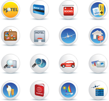 lease: global travel and transport button icon set