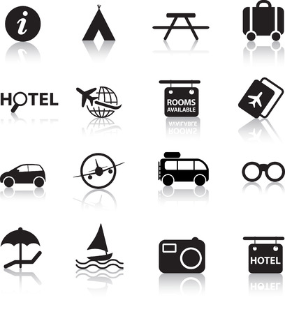 global travel and transport silhouette icon set Illustration