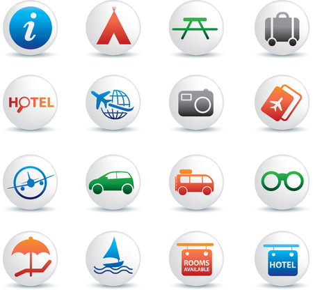 flight board: global travel and transport button silhouette icon set Illustration
