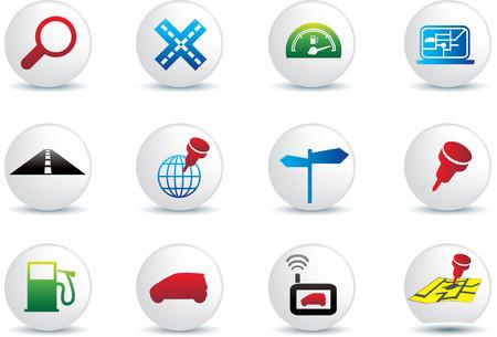 satellite navigation: colecci�n de viajes de carretera de navegaci�n del conjunto de botones de ilustraci�n de iconos