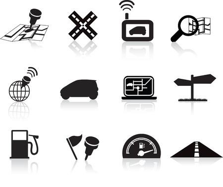 satellite navigation: colecci�n de viajes de carretera de navegaci�n del conjunto de la silueta de iconos