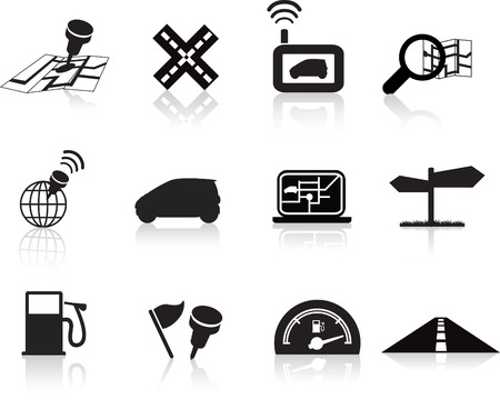 nav: navigation road travel collection of icons silhouette  set Illustration