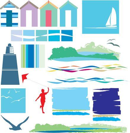 beach hut: illustration of a set of beach icons and symbols