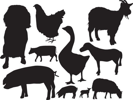 illustration of a selection of farm animals in silhouette illustration