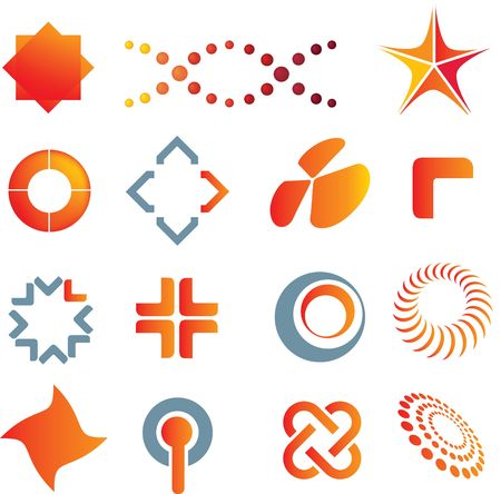 illustrations of colour logo marks and symbols illustration