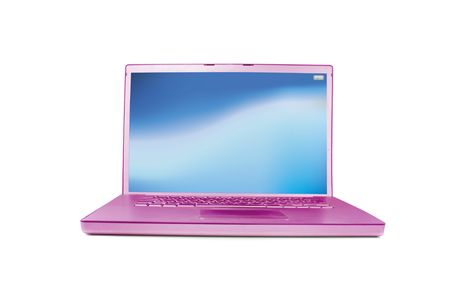 mousepad: Modern style bright pink  laptop isolated on white