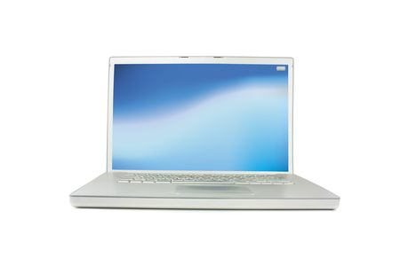 mousepad: Generic modern silver PC laptop isolated on white background with empty blue screen
