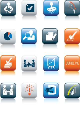 business deals illustration icon collection on white buttons Vector