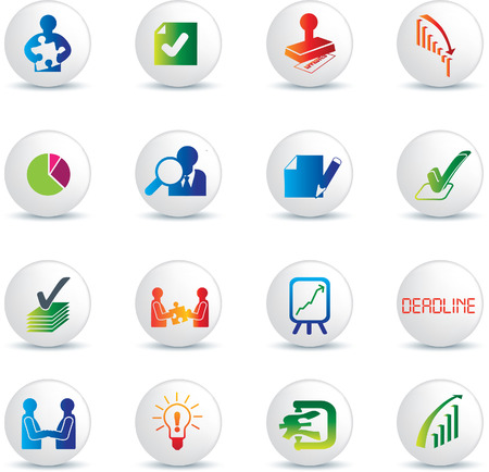 performances: business deals illustration icon collection on white buttons