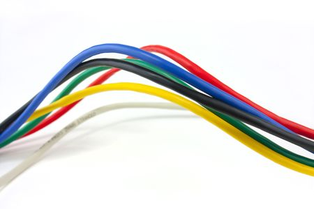 computer cable: Set of brightly coloured network cables on white background