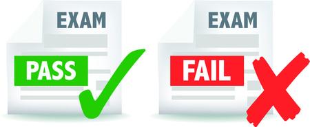 illustratie van examen test geslaagd of mislukt pictogram