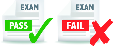 exams: illustration of exam test pass or fail icon Illustration