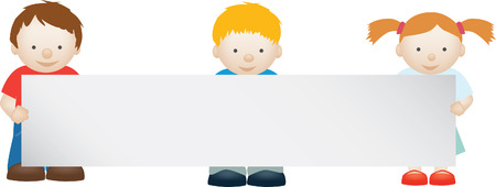 illustration of cute kids holding a blank sign Vector