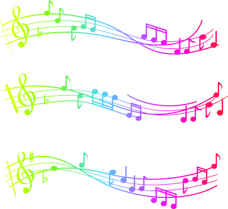 musical swirl of notes with gradient colours Vector