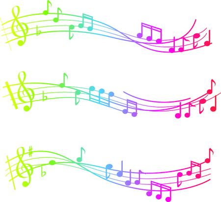 notas musicales: Remolino musical de notas con los colores de degradado