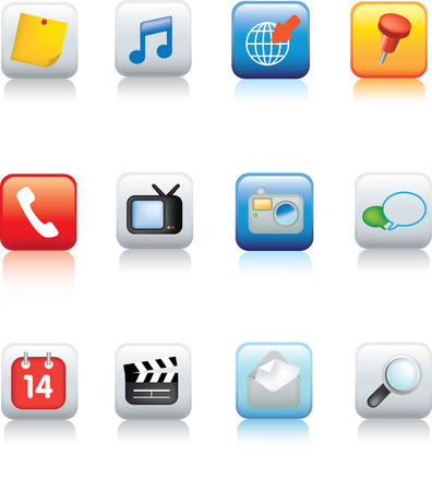 Illustration of a Set of typical mobile phone icons Vector
