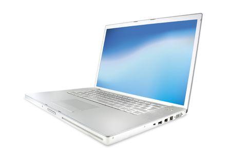 modernos equipos portátiles plata brillantes con la pantalla en blanco y azul en ángulo