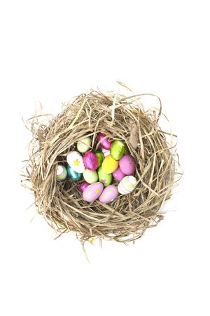 chocolate easter eggs in a nest on white background photo