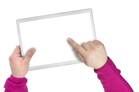 electronic organiser: empty blank screen on a touch screen device