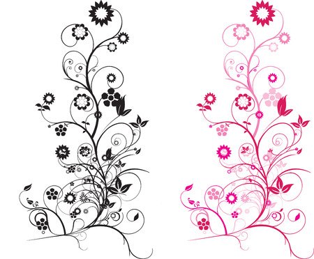 Modern detailed intricate floral illustration with swirls Vector