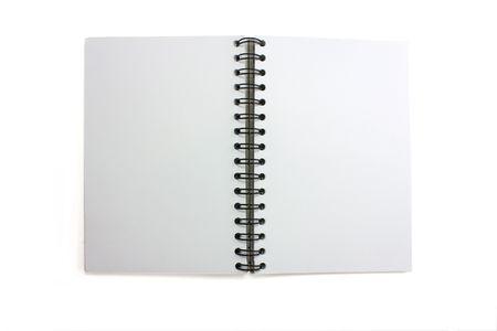 een open geïsoleerde skretchbook met wirobound wervel kolom