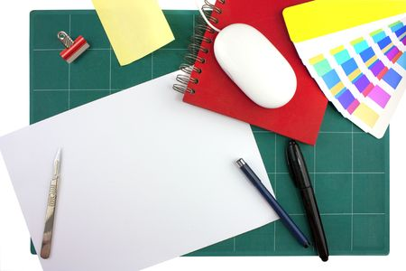 typical graphic designers toolkit or desk looking down from above photo