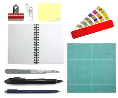 Collection of different graphic design office objects isolated on white background photo