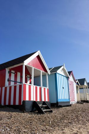 huts: Thorpe Bay beach huts, southend, essex, uk