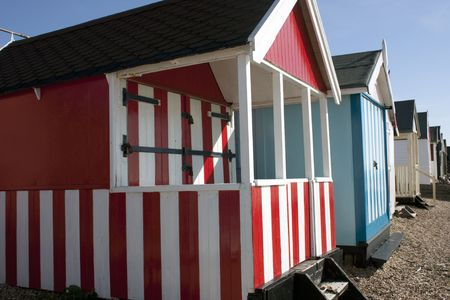 Thorpe Bay beach huts, southend, essex, uk Stock Photo - 6625699