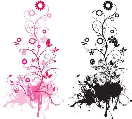 color in: Estilo grunge detallada intrincada ilustraci�n floral con remolinos Vectores
