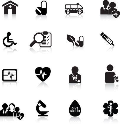 diabetico: botones de silueta de icono de m�dicos y hospitalarios y web