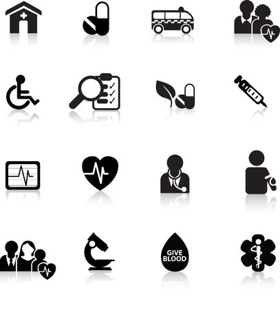 hospitals: medical and hospital icon and web silhouette buttons Illustration