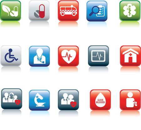 pharmaceuticals: medical and hospital icon and web coloured buttons  Illustration