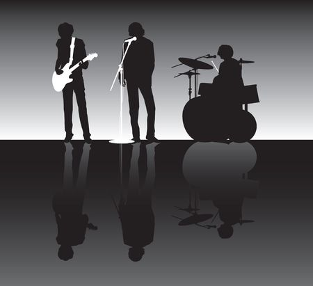 drumming: rock band silhouette