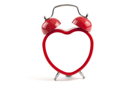 love message: heart shaped alarm clock with blank inside ready for message