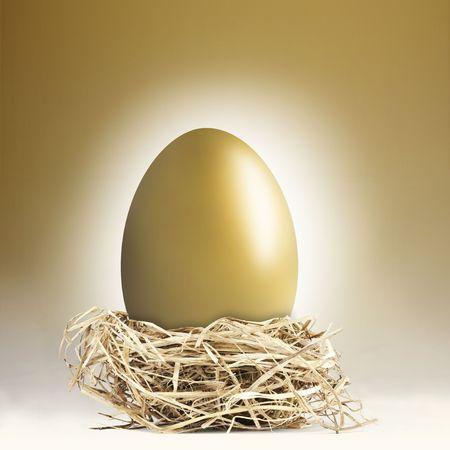 gniazdo jaj: Wielki złota nest jaj na złotym tle
