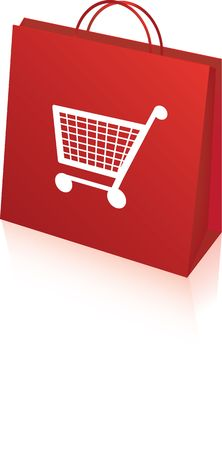 boodschappenkar: bright red retail shopping bag with shopping trolley